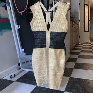 Dresses & Skirts - HERVE LEGER like bodycon dress. Gold and black